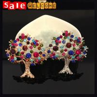 Crystal Tree Brooch Diamond Colorful Golden Silver Rhinestone Big Brooch Jewelry Wholesale
