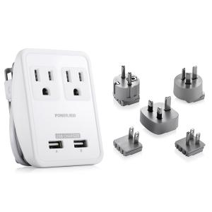 China UL Listed  international electric wall socket Electrical Power Strip with 2 USB port travel adapter on sale