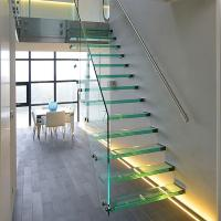 Straight Mild Steel Glass Modern Floating Staircase / Prefab Steel Glass Stair Indoor
