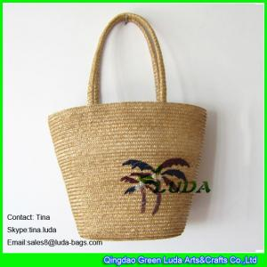 China LUDA embroidery tree desiger handbag  ladies sewn braid summer wheat straw bag on sale