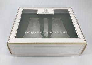Fancy Square Cardboard Gift Boxes With Lids Clear Pvc Window Plastic