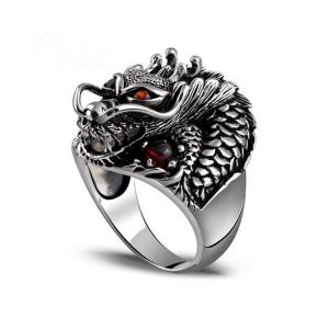 China Men's Thailand Sterling Silver Dragon Ring Vintage Jewelry (R121405) on sale