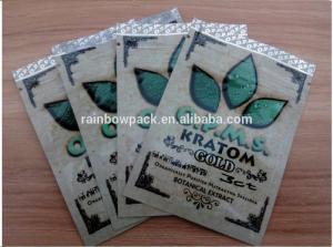China OPMS Kratom botanical extract gold printing plastic ziplock bag for cannabinoids kratom capsules on sale