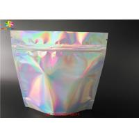 Hologram Laminated Materials Stand Up Laser Foil Bag With Zipper/Private labels Clear front cosmetic aluminum foil pouch