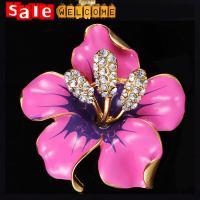 Enamel Brooch Rhinestone Crystal Lily Flower Brooches,Golden Metal Crystal Lapel Pins