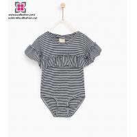 Wholesale Custom Newborn Infant Baby Girl Yarn dyed Short Sleeve Stripe Rompers Bodysuit Jumpsuit
