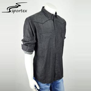 China Single Breasted Washed Denim Shirt New Arrival Slim Fashion Size Simple Design on sale