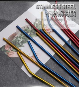 China Custom Stainless Steel Cocktail Straws / Branded Rainbow Metal Straws on sale