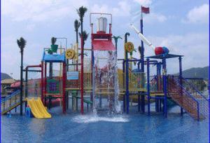 China Customized Fiber Glass Aqua Park Equipment , Colorful Adventure Playground For Children on sale