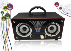 China Rechargeable Portable Stereo Wooden Speakers Box FM Radio Boombox # JS200 on sale