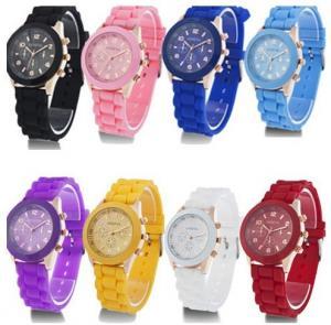 China Two group diamond silicone geneva watch men style on sale