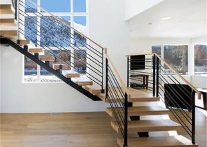 China iron straight staircase with tempered glass balustrade stairs on sale