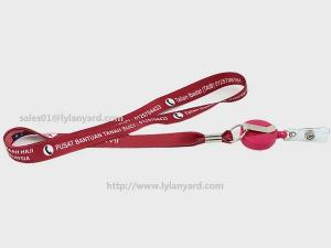China Retractable ID Badge Reel Lanyard, Custom Logo Lanyards with Plastic Badge on sale