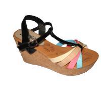 Top Quality 9.5cm Heels Fashion PU Upper / Lining Material Black Ladies Wedge Sandals