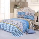 幾何学的設計の平らなシートの枕カバーの羽毛布団カバー寝具セット