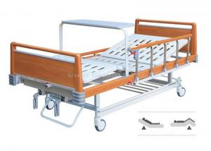 China 2 Crank Manual Hospital Bed Detachable Wooden ABS Handrails With Dinning Table on sale