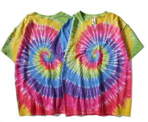 China Customized high quality cotton short sleeve o neck street hand dyed Rainbow t shirt on sale