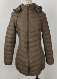 China Grey Winter Padded Jacket Womens With Fur Lining Long Style M-2XL on sale