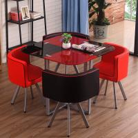 Modern Fiber Glass Top Dining room furniture dining Table And Chairs set 1+4 Seater