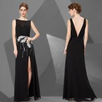High End Bateau Chiffon Deep V Back Prom Dress with Feather Sequins For Girls