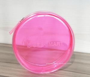China Round Pink Clear Plastic Toiletry Bags For Women Heat-Sealed Welded on sale