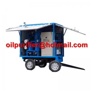 China Mobile Trolley Mounted Transformer Oil Filtration Machine, movable insulation oil purifier with car wheels trailer on sale