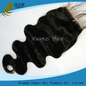 China 7A No Tangle Hair Weave Closures Pieces , Natural Black Brazilian Body Wave Hair on sale