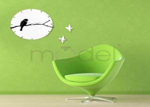 China Unique Round Extra Large Wall Sticker Clock 5mm UltraThin , Cuckoo Bird on sale