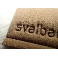 Micro Fibre Custom Clothing Patches With Hot Melt Glue / Sewing Line Suede Patches