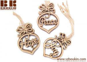 China Laser Cut Peace, Hope and Joy Wood Ornaments Christmas Tree Decoration on sale