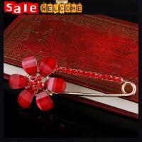 Crystal Rhinestone Red Flowers Drip Brooch,Brooch for Women Wedding Dress Pin,Red Crystal