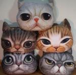 Cat head cushion,plush cat face cushion,custom animal pattern pirnted cushion