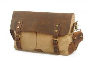 China CL-410 Khaki Vintage Design Canvas and Leather Messenger Bag on sale