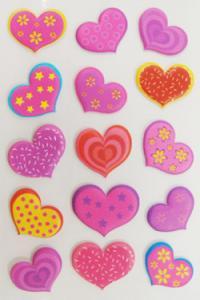 China Colorful Bulk Foam Heart Stickers , Laptop Decor Peel Off  Kids 3d Stickers on sale