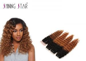 China Blonde Peruvian Curly Hair Bundles / Deep Wave Peruvian Hair Weave Bundles on sale