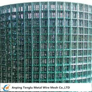 China PVC Coated Welded Wire Mesh|Green Color With 1/4 inch by Carbon Steel Wire on sale