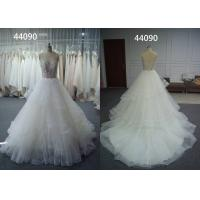 China Sexy Neck A Line Ball Gown Wedding Dress Graceful Appliques Pleated Princess Bridal Gown on sale