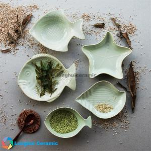 China 5pcs Marine life shape pure glaze ceramic dinnerware set on sale
