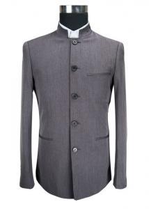 China Dark Grey Mens Casual Blazer Jacket Stand Collar Tunic Suit Viscose Fabric Type on sale