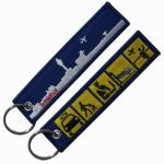 Flight Crew Twill Washable 75% Embroidered Fabric Keychain With Eyelet And Ring