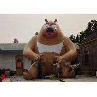 6m Strong Inflatable Cartoon Characters , Outdoor Brown Inflatable Bear