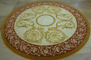 China Patternned Handmade New Zealand Wool Carpets , Round Area Rugs Contemporary on sale