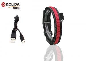 China Adjustable S / M / L LED Nylon Dog Collar , USB Light Up Dog Collar Rechargeable on sale