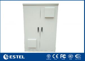 China Two Doors Outdoor Telecom Cabinet Aluminium?Floor Mount Two Compartment IP65 on sale