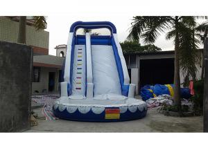 China 0.55mm PVC Blue Adults And Kids Playground Commercia Giant Inflatable Water Slide For Party on sale