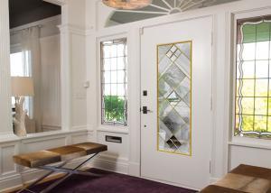 China Original Artwork Architectural Decorative Stained Glass Door Panels Nouveau Art Deco on sale