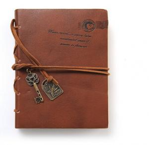 China Journal Diary String Key Retro Vintage Classic Leather Bound Notebook Dark Coffee on sale