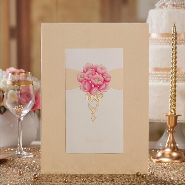 European style signature book 2014 lovely pink flower attendance european style signature book 2014 lovely pink flower attendance book as wedding decoration images junglespirit Gallery