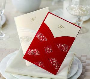 China Happy Wedding Invitations Laser Cut 2014 European Style Red Flower Wedding Invitation Card Free Shipping on sale