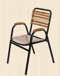 China Comfortable Outdoor Metal Steel Dining Chairs With Armrest Retaurant on sale